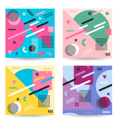 Set abstract colorful memphis style backgrounds vector