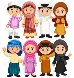 set of arab and muslim character vector image