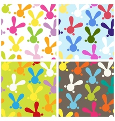 Set of colorful seamless paterns with easter bunny vector image