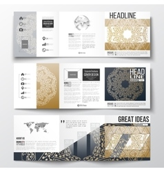 Set of tri-fold brochures square design templates vector