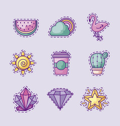 Set patches sun and icons vector