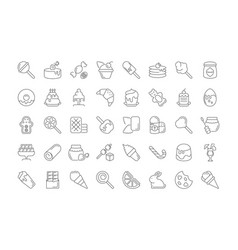 set simple icons sweets vector image