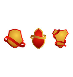 set vintage badges shields with ribbons sale vector image