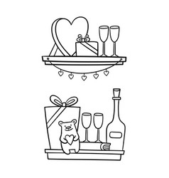 shelves with valentines day icons for design vector image