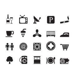 Silhouette Hotel and Motel objects icons vector