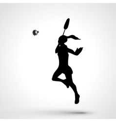 Silhouette of abstract female badminton player vector