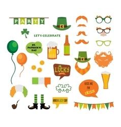 St Patricks Day design elements set icons vector image