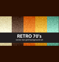 star pattern set retro 70s seamless backgrounds vector image