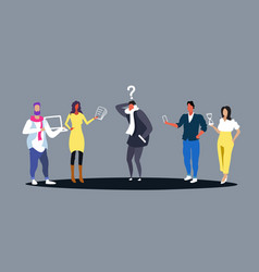 Stressed business man surrounded colleagues vector