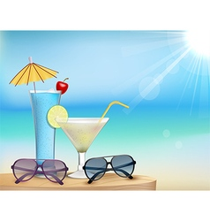 Summer in beach with drinks and sunglasses vector