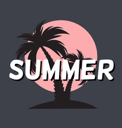 summer time background icon with palm tree vector image