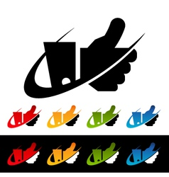 Swoosh Thumbs Up Logo Icons vector