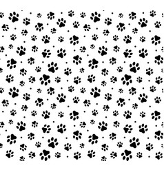 trace black doodle paw prints seamless pattern vector image