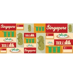 Travel and tourism icons Singapore vector