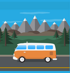 travel van in the mountains flat style vector image
