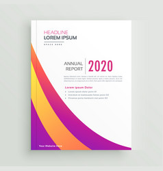 trendy colorful brochure annual report template vector image