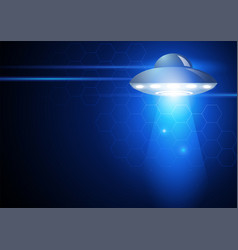 Unidentified flying object on futuristic vector