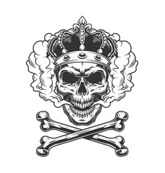 vintage monochrome king skull wearing crown vector image