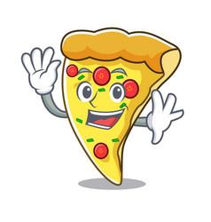 Waving pizza slice character cartoon vector