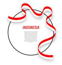 Waving ribbon flag indonesia on circle frame vector