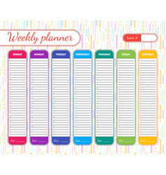 weekly planner template vector image