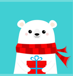 White polar bear cub face holding gift box vector