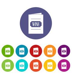 wine list icons set flat vector image