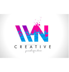 Wn w n letter logo with shattered broken blue vector