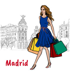 woman in madrid vector image