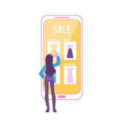 woman stands near huge smartphone pointing to vector image