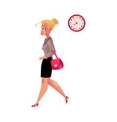 young blond businesswoman hurrying being late to vector image