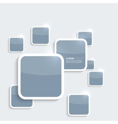 Blue plastic shiny glossy boxes on gray background vector image