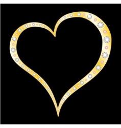 gold diamonds heart vector image