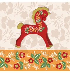 Greetings card with red horse vector image