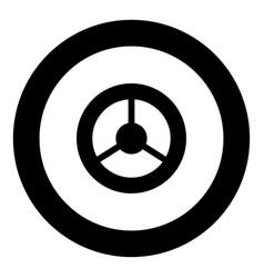 steering wheel icon black color in circle vector image vector image