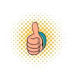 Thumb up gesture icon comics style vector image vector image