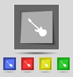 Guitar icon sign on original five colored buttons vector image