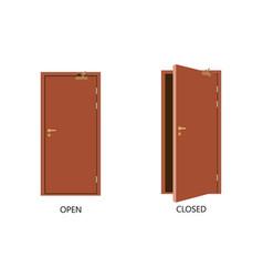 open and closed door house front wooden open vector image