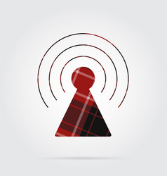 Red black tartan isolated icon transmitter tower vector