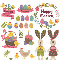 set of isolated happy easter design elements vector image vector image