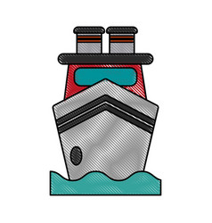 ship on water frontview icon image vector image vector image
