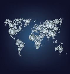 world map made as lot of expensive diamond vector image