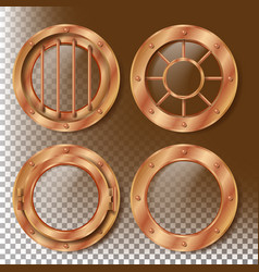 brass porthole round metal window with vector image vector image