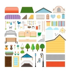 House elements Windows and doors benches street vector image vector image