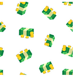 stacks of gold coins and dollar cash seamless vector image vector image