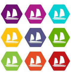 vietnamese junk boat icon set color hexahedron vector image