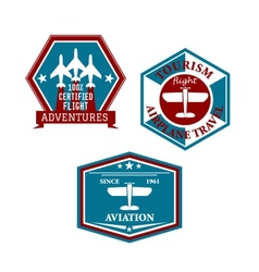 Aviation and tourism emblems vector image vector image