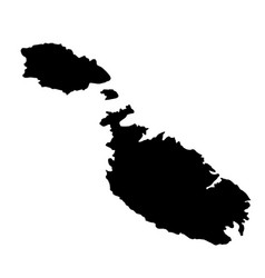 black silhouette country borders map of malta on vector image vector image