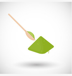 matcha tea powder with spoon flat icon vector image