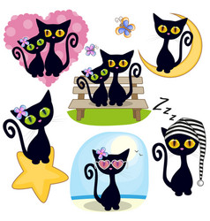 set of cute cartoon cat vector image vector image